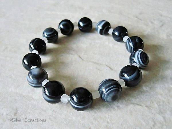 Black and Grey Stripey Banded Agate Beaded Stretch Bracelet | Silver Sensations